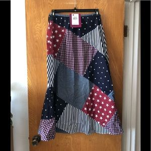 Carole Little American flag patchwork long skirt M